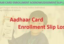 Aadhar Card UID lost slip